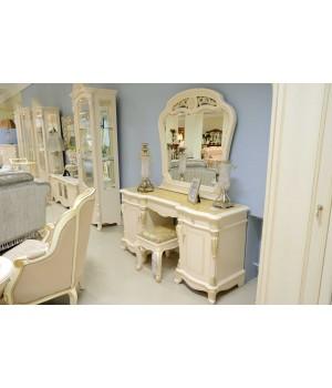 Туалетный стол с зерк. Афина белая с золотом (AFINA)