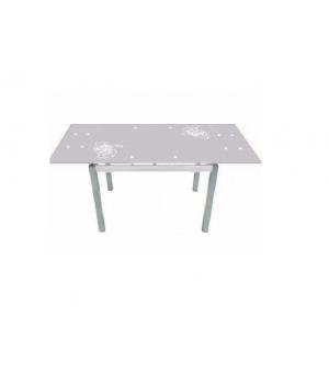 Стол обеденный В179-34-2 (экстра белый/серебристые розы)