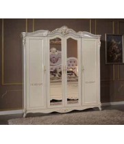 Шкаф 4-х дверный с зеркалами Корсика бьянка (Corsica bianca)