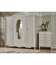 Шкаф 4-х дв. с зеркалом Виттория белый жемчуг