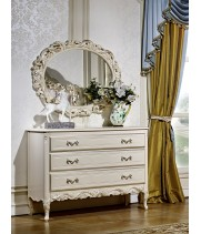 Комод с зеркалом  Виттория белый жемчуг