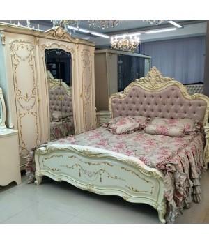 Магдалена белая Кровать 1.8х2.0 (Бархат Беж)