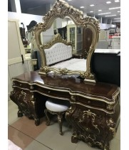 Туалетный стол с зеркалом Мона Лиза (орех с золотом)