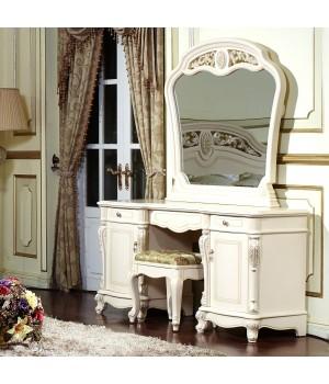 Туалетный стол с зерк. Афина белая с жемчугом (AFINA)