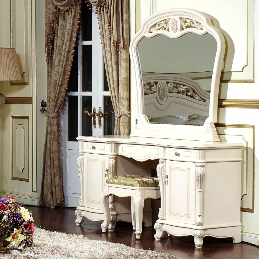 Афина белая с жемчугом Туалетный стол с зерк.